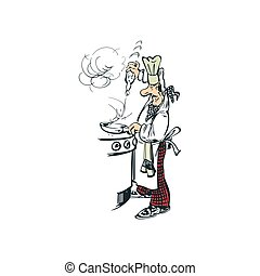 chef cooking cartoon illustration vector