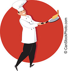 Chef cooking - Chef flipping an omelette or a crepe on a fry...