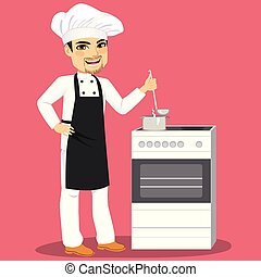 Chef Cooking In Kitchen