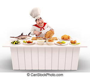 Chef cooking nonveg - 3D illustration of Chef cooking non-...