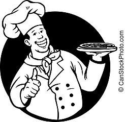 Chef Cooking Pizza Black White