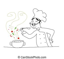Chef cooking soup - doodle illustration