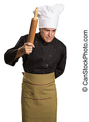 chef cooking with a rolling pin.