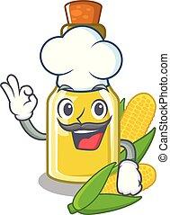 Chef corn oil put into cartoon bottle