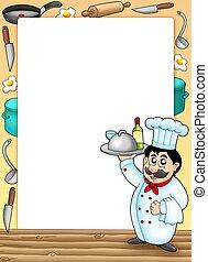 chef, cornice, pasto, presa a terra