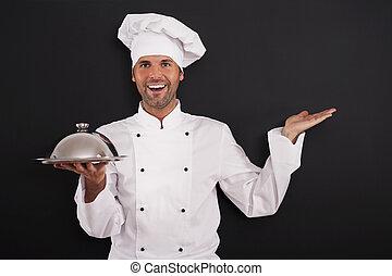 chef, corso, sorridente, principale, raccomandato