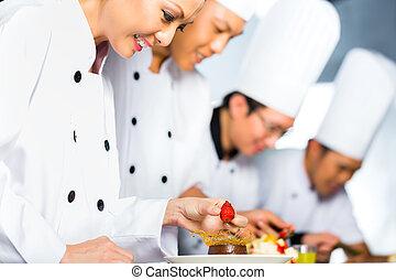 chef, cottura, asiatico, cucina, ristorante