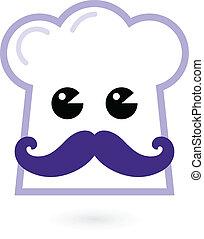 chef, -, cottura, cappello, carattere, isolato, bianco