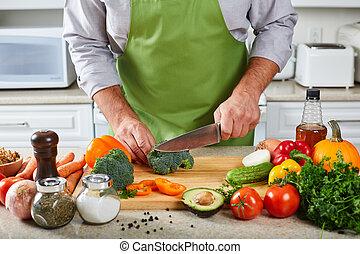 chef, cottura, kitchen., uomo