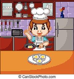 chef, cottura, set