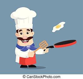 chef, cottura, vettore, illustrazione