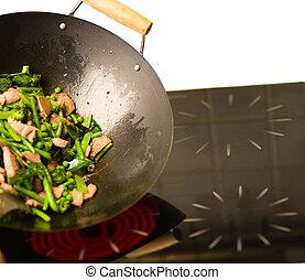 chef, cottura, wok