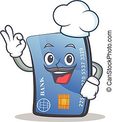 Chef credit card character cartoon