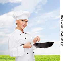 chef, cuchara, sonriente, hembra, cacerola