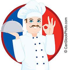 chef, cucina, francese, baffi