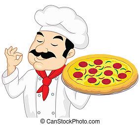 chef cuistot, à, pizza