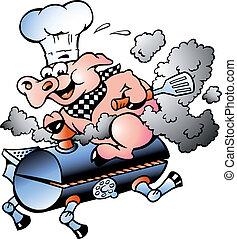 chef cuistot, équitation, baril, barbecue, cochon