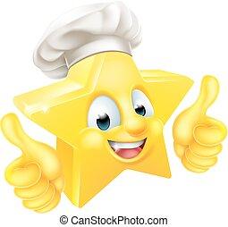chef cuistot, étoile, pouces haut