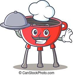 chef cuistot, barbecue, caractère, dessin animé, gril