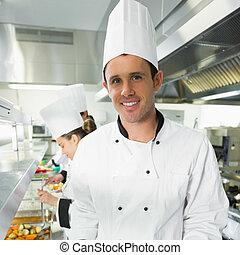 chef cuistot, beau, mâle, poser, cuisine