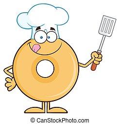 chef cuistot, beignet, caractère, dessin animé