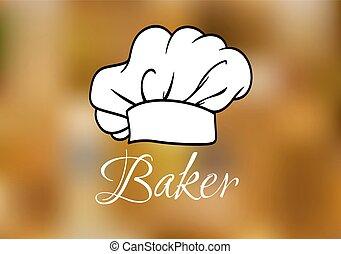 chef cuistot, blanc, casquette, ot, toque
