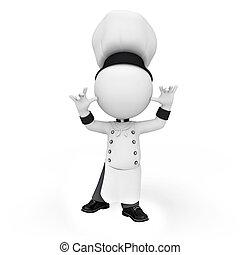 chef cuistot, blanc, gens fonctionnement