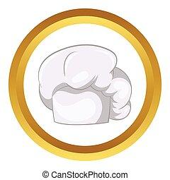 chef cuistot, blanc, vecteur, chapeau, icône