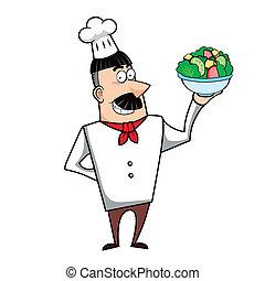 chef cuistot, bol, dessin animé, salade
