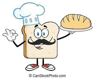 chef cuistot, boulanger, couper, chapeau, pain