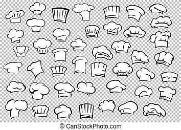 chef cuistot, boulanger, ensemble, chapeaux, toques
