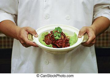 chef cuistot, braisé, porc, main