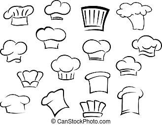 chef cuistot, chapeaux, casquettes, personnel, ou, cuisine