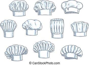 chef cuistot, chapeaux, casquettes, toques, icônes