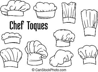chef cuistot, chapeaux, ensemble, casquettes