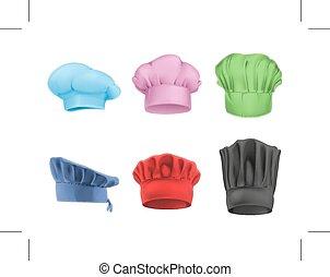chef cuistot, chapeaux, multicolore