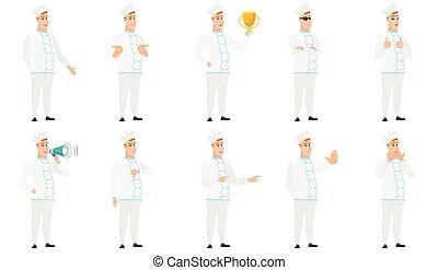 chef cuistot, characters., illustrations, ensemble, vecteur