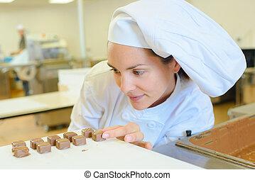 chef cuistot, chocolat, cuisine