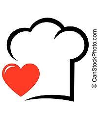 chef cuistot, coeur, chapeau, icône
