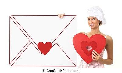 chef cuistot, coeur, projection, femme, signe