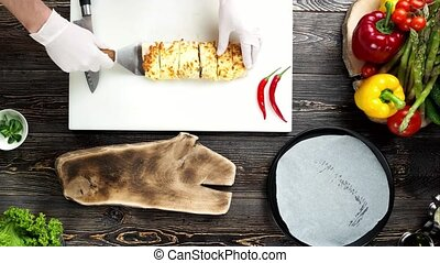 chef cuistot, confection, sommet, burrito, vue.