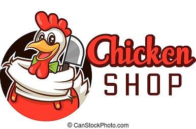 chef cuistot, couperet, poulet, dessin animé