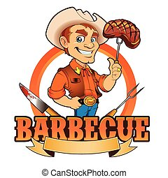 chef cuistot, cow-boy, barbecue