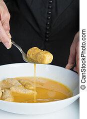 chef cuistot, croquettes, préparer, cuisine