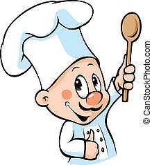 chef cuistot, cuillère bois, prise