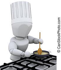 chef cuistot, cuisine, à, brûleur