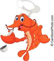 chef cuistot, cuisine, crevette, dessin animé, rigolote