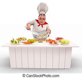 chef cuistot, cuisine, riz, à, légumes