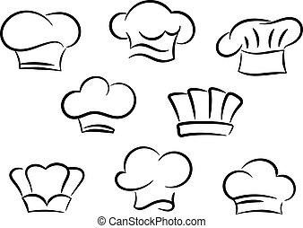 chef cuistot, cuisinier, chapeaux, ensemble