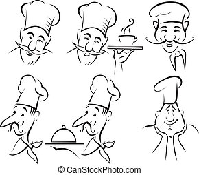 chef cuistot, cuisinier, ensemble, -